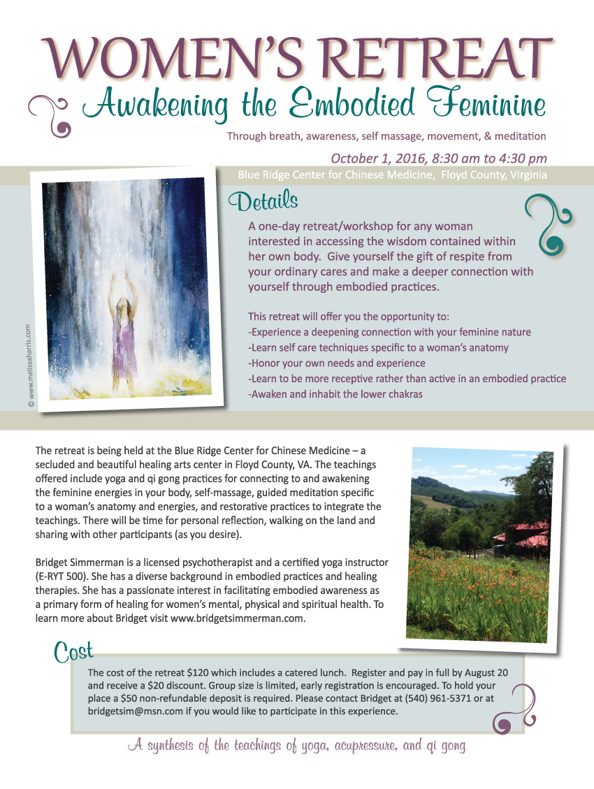 Summer 2016 Womens Retreat Embodied Feminine