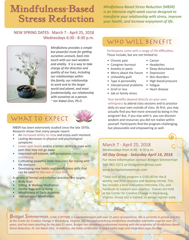 Mindfulness-Based Stress Reduction with Bridget Simmerman